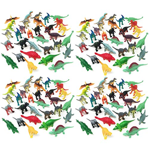 Boley 150 Pack Miniature Dinosaur Toy Set - Colorful Mini Plastic Dinosaur Figure Variety Pack - Perfect for Party Packs, Party Favors, Cake Toppers, and Stocking Stuffers!]()