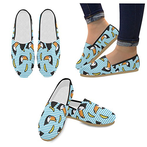 D-Story Fashion Sneakers Flats Womens Classic Slip-On Canvas Shoes Loafers Toucan H7Ei1MzS