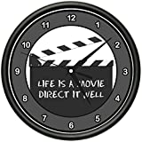 LIFE IS A MOVIE DIRECT IT WELL Wall Clock fun inspirational film school gift