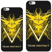 Team Instinct Pokemon Go Case For Phone Case Back - iPhone 6 Plus / iPhone 6S Plus - Black Rubber