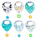 Baby : Baby Bandana Drool Bibs 6-Pack and Teething toys 6-Pack Made with 100% Organic Cotton, Super Absorbent and Soft Unisex (Vuminbox ) ( 6 PCS ), Colorful, One Size