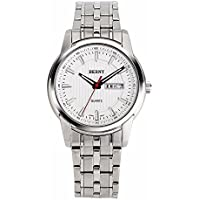 Berny 2640 Men Dress Watch, Stainless Steel Band, White Dial, Day & Date Display
