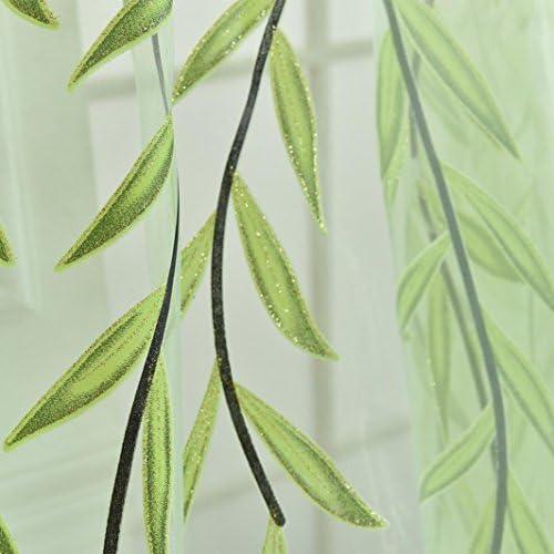 100 * 270cm, Verde Visillos para Ventanas Cortina Voile con Bordado Hoja Verde