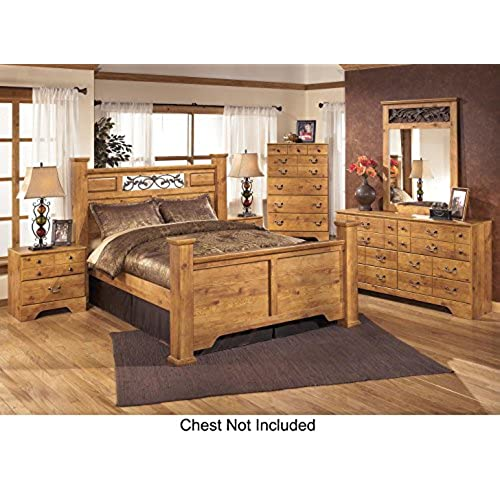 Bittersweet Queen Bedroom Set With Poster Bed Dresser Mirror And Nightstand  In Light Wood. By Ashley Furniture