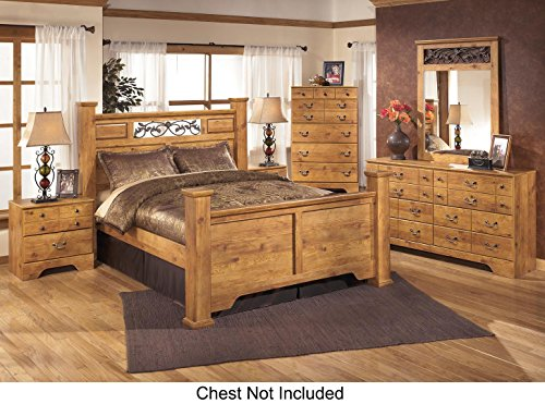 Ashley Bittersweet King Bedroom Set with Poster Bed Dresser Mirror and Nightstand in Light (Sets Bedroom Mobilia Furniture)