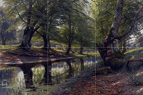 STREAM AND DEER by Peder Monsted animal wood forest trees Tile Mural Kitchen Bathroom Wall Backsplash Behind Stove Range Sink Splashback 3x2 6