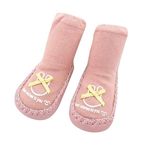 (Kids Floor Socks, Inkach Anti Slip Socks Soft Bottom Toddler Baby Step Socks Home Slipper Shoes (12-18 Month = Label Size:13, Pink))
