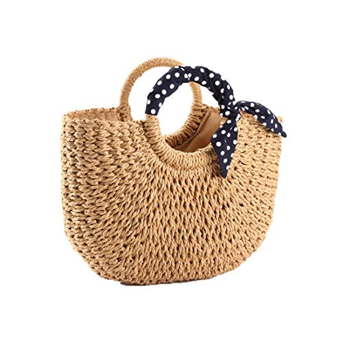 YOUNG-X Handmade Straw Purse Hobo Min Tote Natural Vintage Bag, Women Round Handle Ring Rattan Retro handbag Summer Beach (9.3