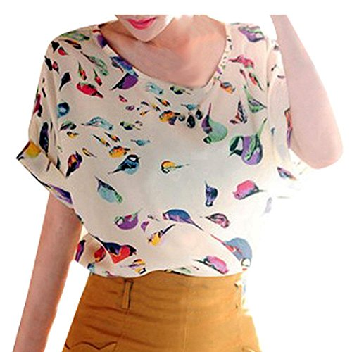 Women's Fashion Bird Heart Geometric Printed Short Sleeved Chiffon Shirt (Asia L=US 8-10, Bird Pattern)