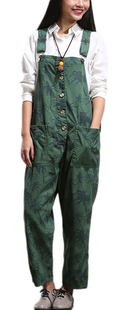 Soojun Women's Floral Pattern Suspender Trousers Bib Overalls with Pockets Green,US 2-12