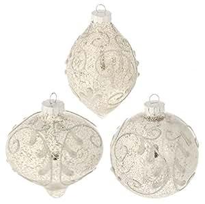 "RAZ Imports - 4"" Antiqued Ornaments - Set of 3"