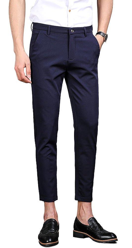 Plaid& Plain Men's Casual Stretch Flat Front Dress Pants Slim-Tapered Suit Pants 13-PANTS-M131003