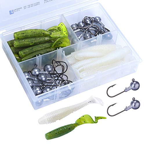 Goture 40 PCS Fishing Lure Kit with Tackle Box - Jig Head Soft Worm Bait Grubs Lures Tail Swimbaits for Saltwater Freshwater Trout Bass Fishing