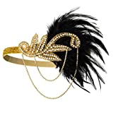 1920s Gatsby Flapper Feather Headband 20s Accessories Crystal Beaded Wedding Headpiece (A-Gold)