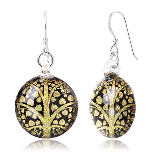 Sterling Silver Hand Blown Glass Yellow Gold Buddhism Bodhi Peepal Tree Round Dangle Earrings