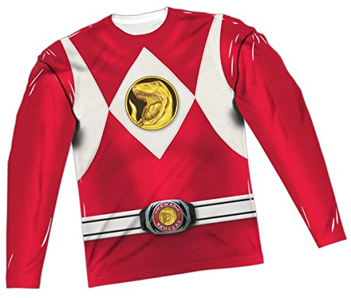 Red Ranger Costume -- Power Rangers All-Over Long-Sleeve T-Shirt, (Red Power Rangers Long Sleeve Costumes Shirt)
