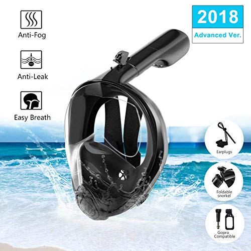 DYTesa Full Face Snorkel Mask,180° Panoramic View,Easy Breath Snorkeling Mask Foldable with Detachable Action Camera Mount and Earplug Permanent Anti-Fog Anti-Leak for Adults Youth (L/XL)