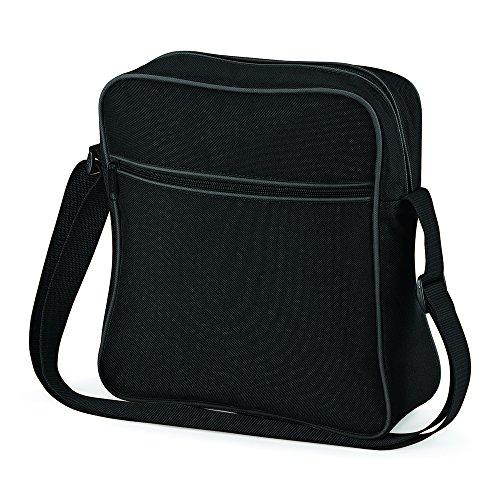 BagBase Retro Flight Bag Negro - Black/ Dark Graphite