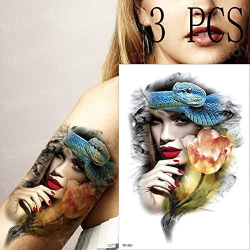 tzxdbh 3 unids Tatuaje Temporal de la Flor de Loto Tatuaje para ...