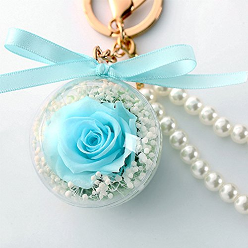 Bow-Knot Keychains Novelty Preserved Fresh Flower Rose Key Chain for Womens Bag or Car Pendant (Tiffany - Knots Tiffany