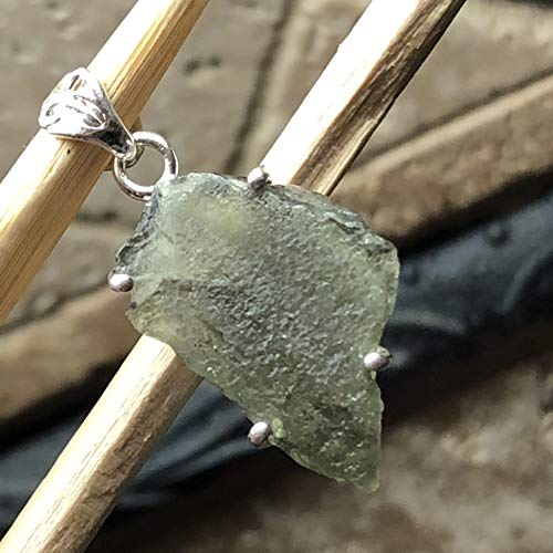Natural Green Czech Republic Moldavite 925 Solid Sterling Silver Healing  Stone Pendant 35mm