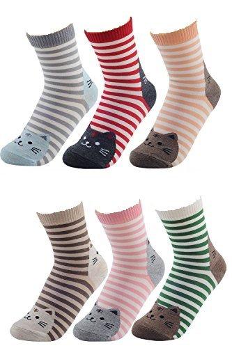 6 Paar Damen Damen Mädchen Mischfarben gestreift Cartoon Tiere Katze Muster Socken Winter Dicke warme Socken