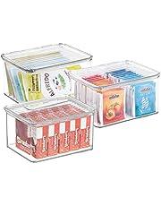 mDesign Pojemniki do układania w stos – przezroczyste pudełko lub pudełko do przechowywania z pokrywką – do całego gospodarstwa domowego – przezroczyste