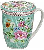Té taza de porcelana con tapa y colador Flores Turquesa