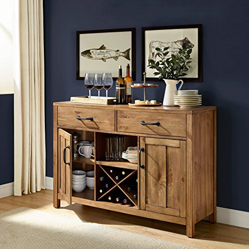 Care 4 Home LLC Storage Buffet Sideboard with 2 Drawers and 2 Cabinets, Durable, Adjustable Shelves, Wine Bottle, Metal Handles, Perfect for Dining Room, Kitchen, Natural Finish + Expert Guide -