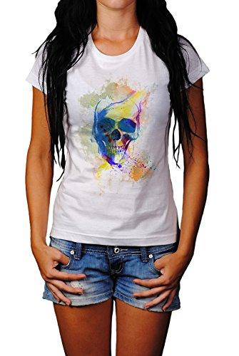 Totenkopf Damen T- Shirt , Stylisch aus Paul Sinus Aquarell Color