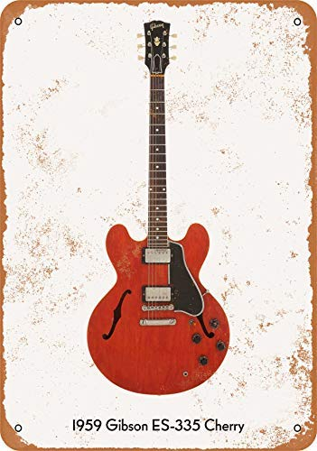 Guitar Art - Vintage Look Metal Sign Wall Décor - 1959 Gibson ES-335 Cherry Wall Plaque Sign 8X12 Inch