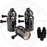 Set of 5 Metal Shell Nickel Black Medium Base Incandescent Brass Vintage Light Socket Lamp Holder with Removable Turn Knob , Great For Industrial Vintage DIY Projects