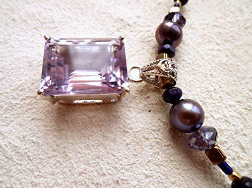 Amethyst pendant beaded necklace