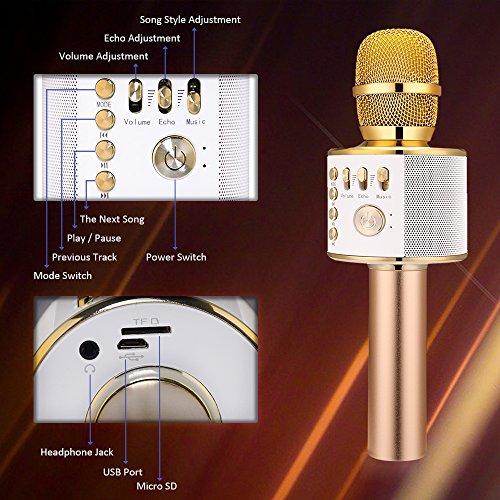 BONAOK Wireless Bluetooth Karaoke Microphone, Easter Gift 3-in-1 Portable Hand microphone Speaker Machine for iPhone/Android/iPad/Sony/PC or All Smartphone(Gold) - Image 2