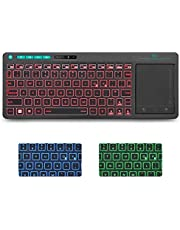 Rii K18+ 2.4G Wireless Keyboard with Touch Pad, Multimdeia RGB Backlit Keyboard Compatible with PC/Laptop/Linux/Fire Stick/Windows 2000 XP Vista 7 8 10 UK layout