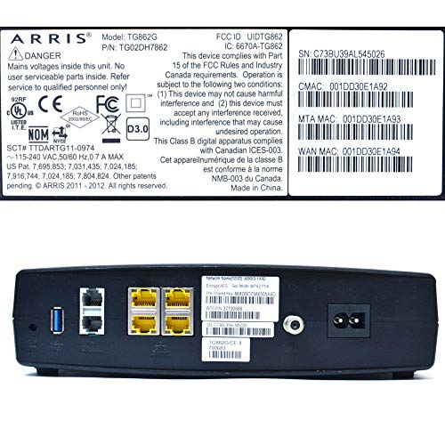 Arris Touchstone Tg862g Comcast Version Docsis 30 Residential
