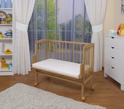 WALDIN Baby Beistellbett mit Matratze, 2 Modelle wählbar,natur unbehandelt