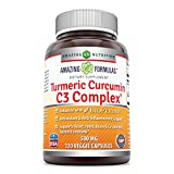 Amazing Formulas Turmeric Curcumin C3 Complex 500 Mg 120 Veggie Capsules – Enhanced with BioPerine, antioxidant & Anti-inflammatory Support and Supports Heart, Joint, Brain & Circulatory System For Sale