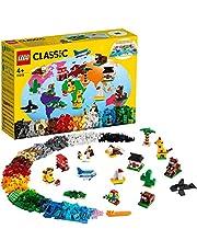 LEGO Classic Dookoła świata 11015 — zestaw konstrukcyjny; 15 kreatywnych zabawek dla dzieci; figurki popularnych zwierząt (950 elementów)