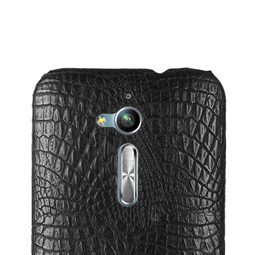 Funda Asus ZenFone Go ZB500KL,SunFay Funda Posterior Protector de PC Carcasa Back Cover de Parachoques Piel PU Protectora de Teléfono Para Asus ZenFone Go ZB500KL - Blanco Negro