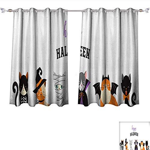 Printed Blackout Curtain Happy Halloween Cats in Monsters Costumes Halloween Party Vector Illustration Banner Elements set1 Grommet Window Curtain Drape Panels W96 x L72/Pair ()