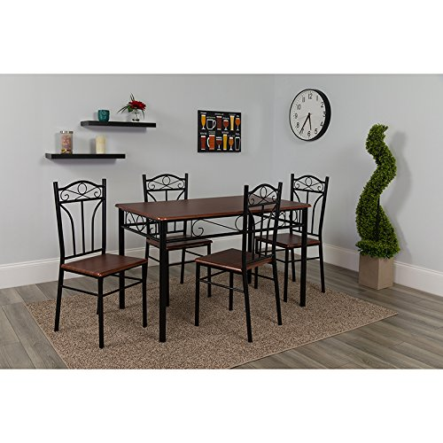 Transitional Classic Design 5 Piece Mahogany Finish Dinette Set with Chairs (Dinette Set Transitional)