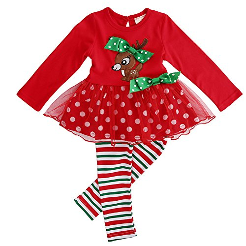 Christmas Outfits for Baby Girls Tutu Dress Tshirt with Striped Pant Clothing Set (5-6 Year, Reindeer)]()