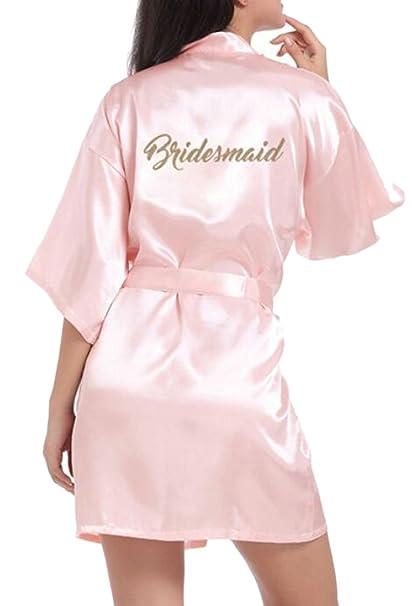 469f944b4e Domple Women s Short Sleeve Sleepwear Bridesmaid Bathrobe Satin Robes Kimono  at Amazon Women s Clothing store