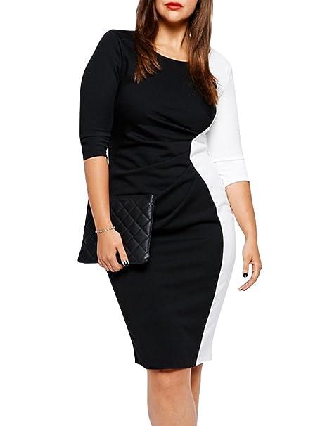 Mujeres Elegante Vestidos de Oficina 3/4 Manga Empalme Lápiz Vestido Tamaño Grande Negro 3X
