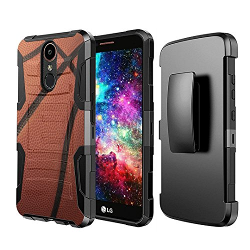 (Capsule Case Compatible with LG Stylo 4 Plus, LG Stylo 4, LG Q Stylus [Dual Layer Full Armor Style Kickstand Holster Combo Case Black] for LG Stylo 4 - (Basketball) )