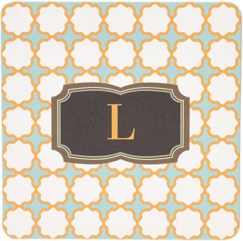 Patterned Cross Design, Set of 24 Monogrammed 'L' Paper Coasters - Monogrammed Coasters L