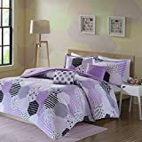 Purple and White Bedding Sets Urban Habitat Kids Trixie Full/Queen Comforter Sets for Girls - Purple, Geometric – 5 Pieces Kids Girl Bedding Set – Cotton Childrens Bedroom Bed Comforters