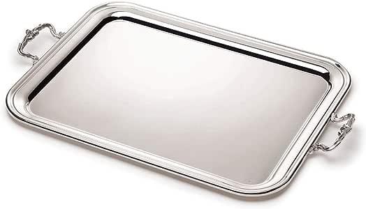 Broggi Classica bandeja rectangular con asas grande alpaca plateada: Amazon.es: Hogar