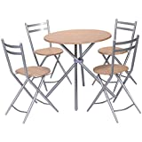 5 pcs Set Pub Dining Round Table and Folding Chair for Kitchen and Living Room